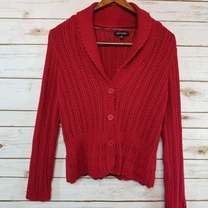 Notations | Cranberry Red Cardigan Sweater